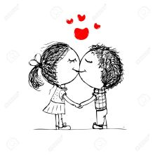 25245263-couple-kissing-valentine-sketch-for-your-design-stock-vector-love-couple-cartoon